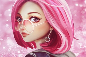 Pink Hair Sun Glasses Fantasy Girl 8k Wallpaper