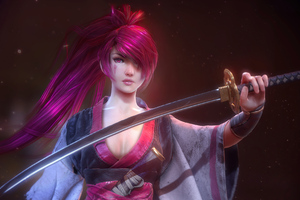 Pink Hair Warrior Girl With Sword Wallpaper