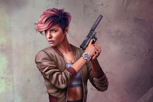 Pink Head Girl With Gun Wallpaper