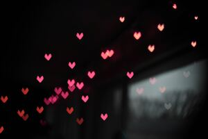 Pink Little Heart Bokeh Lights