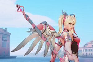 Pink Mercy Overwatch Artwork 4k