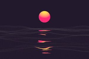 Pink Retrowave Sunset Wallpaper
