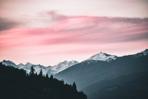 Pink Sky Nature Beauty Mountains Snow 5k