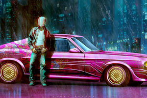 Pink Vintage Car Man Standing Outside Wallpaper