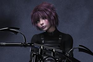 Pinkhair Biker Girl Wallpaper