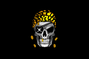 Pirate Skull Gold Minimal 4k Wallpaper