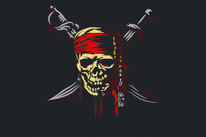 Pirate Skull Minimalism 5k Wallpaper
