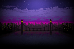 Pixel Art Bridge Night Wallpaper