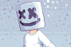 Pixel Marshmello Art Wallpaper