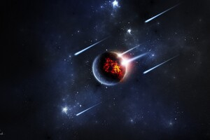 Planet Meteors Digital Art