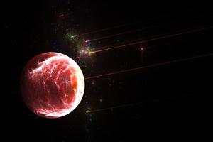 Planet Red Fire Fractal 4k