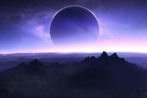 Planets Mountains Sea Sky Artwork 4k