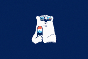 Polar Bear Minimal 4k Wallpaper