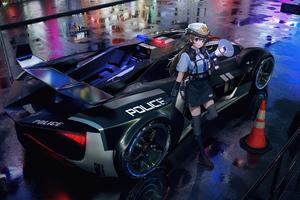 Police Anime Girl 4k Wallpaper