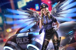 Police Girl Mercy Overwatch 2018 HD Wallpaper