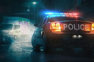 Police Patrol Car Digital Art 5k Wallpaper