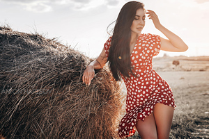 Polka Dot Dress Girl Field Long Hair 4k