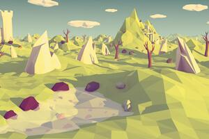 Polygon Landscape Art Wallpaper