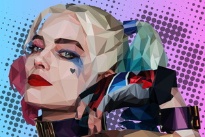 Polygonal Harley Quinn Wallpaper