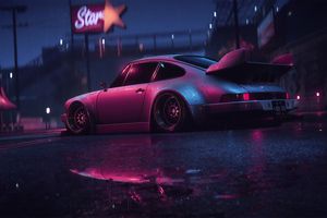 Porsche 911 Carrera RSR Neon Reflection 4k