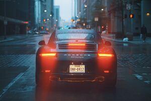 Porsche 911 Carrera Talilights Bokeh Rain City