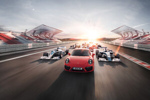 Porsche And F1 Car Wallpaper