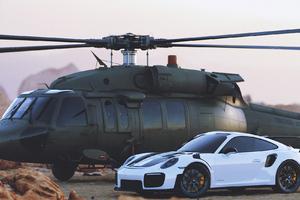 Porsche And Jets Wallpaper