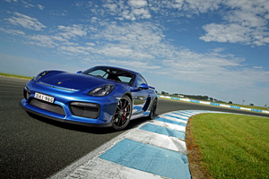 Porsche Cayman GT4 Blue Wallpaper