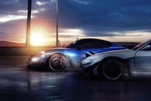 Porsche Cayman GT4 X Nissan 180SX 4k