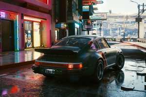 Porsche Cyberpunk 2077 In City 5k Wallpaper