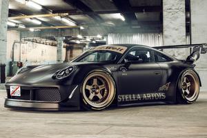 Porsche Golden Rims 4k Wallpaper