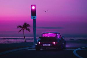 Porsche Miami Nights Synthwave 4k