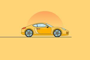 Porsche Minimal Yellow 8k Wallpaper