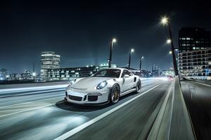 Porsche White On Road Wallpaper
