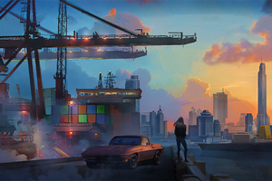 Port And City Girl With Car Wallpaper
