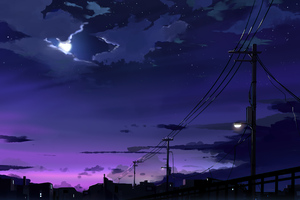 Power Lines Moon Anime Quite Night 4k Wallpaper