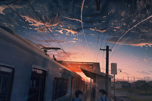 Power Lines Train Anime 4k Wallpaper