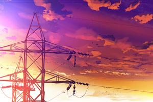 Powerlines Anime Scenery 4k