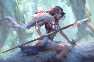 Princess Mononoke Warrior Art 4k Wallpaper