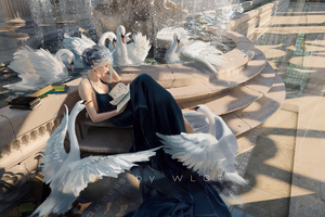 Princess Reading Stories With Swans