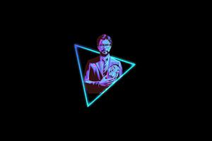 Professor Money Heist Minimal Neon 4k