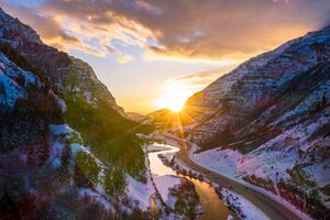 Provo Canyon During Winter 5k Wallpaper