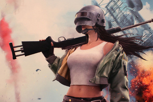 Pubg Helmet Girl 4k Wallpaper