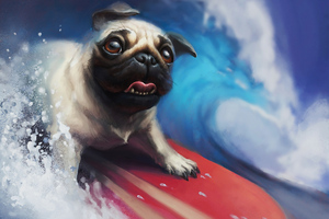 Pug Surfing Wallpaper