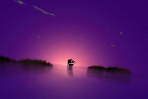 Purple Dome Boat 4k Wallpaper