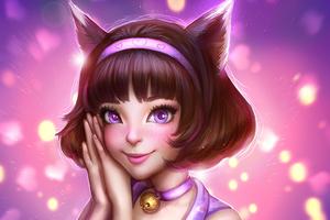 Purple Eyes Short Hair Animal Ears Girl