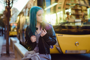 Purple Green Hair Girl In Public Wallpaper