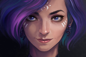 Purple Hair Artistic Girl