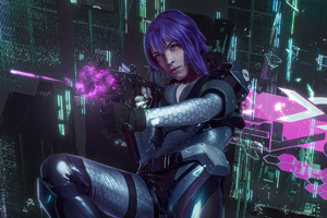Purple Hair Cyber Punk Girl
