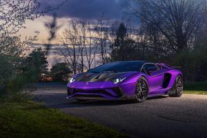 Purple Lamborghini Aventador 5k Wallpaper